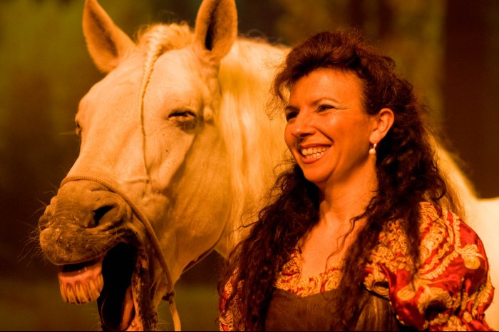 Barcelona - Spain - Cavalia Festival - Magali and a happy horse.